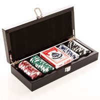 Carbon Fiber Poker Box, 100 Chip Set with Double Deck Cards