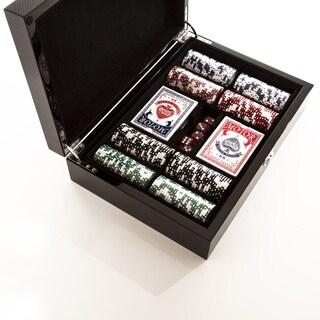 Carbon Fiber Poker Box, 200 Chip Set with Double Deck Cards