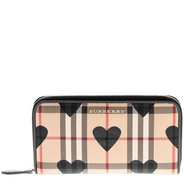 Burberry Embossed Leather Zip Around Wallet: Shop Burberry Horseferry Check And Hearts Zip Around