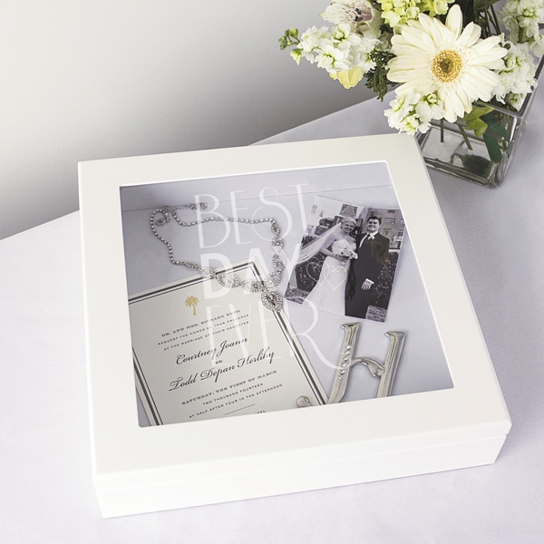 Best Day Ever White Wedding Wishes Keepsake Shadow Box