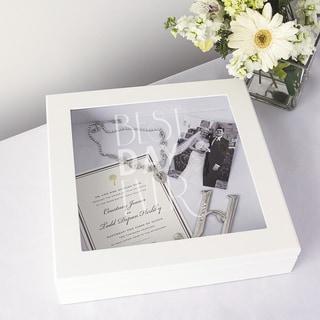 Best Day Ever White Wedding Wishes Keepsake Shadow Box