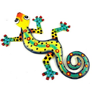Hand Painted Eight Inch Metal 'Jazz Hands' Gecko (Haiti)