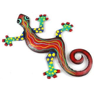 Handmade  Eight Inch Metal 'Red Wave' Gecko (Haiti)