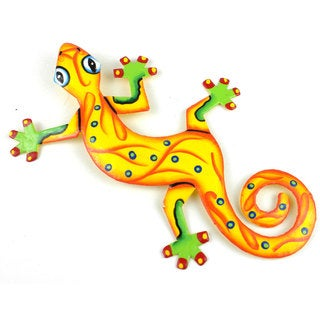 Hand Painted Eight Inch Metal 'Sunshine Yellow' Gecko (Haiti)