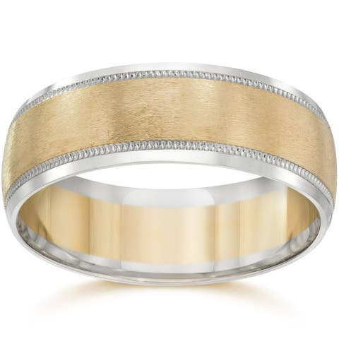 14k Two-Tone Gold Men's 8mm Brushed Wedding Band