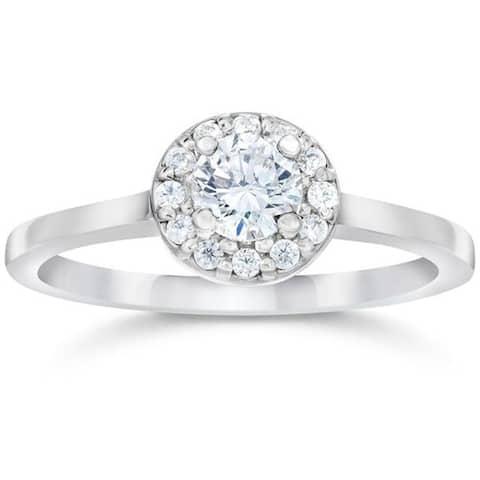 14k White Gold 1/2ct TDW Round Diamond Engagement Halo Engagemnt Ring