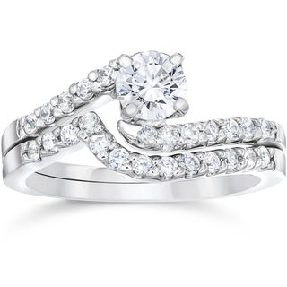 14k White Gold 1ct TDW Diamond Engagement Matching Wedding Ring Set 14K White Gold