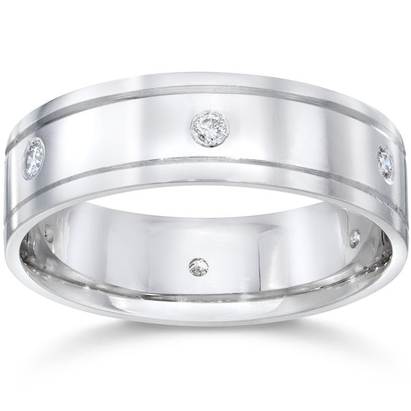Shop 14K White Gold 1/5 CT TDW Men's Diamond High Polished