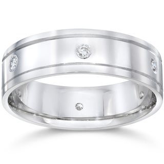 14K White Gold 1/5 CT TDW Men's Diamond High Polished Wedding Ring