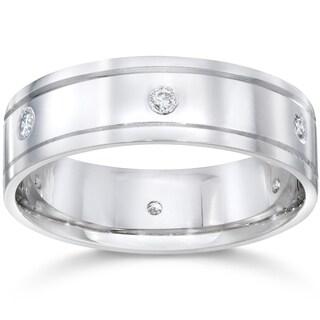 14K White Gold 1/5 CT TDW Men's Diamond High Polished Wedding Ring