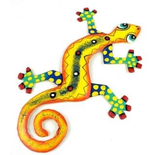 Hand Painted Eight Inch Metal 'Desert Yellow' Gecko (Haiti)