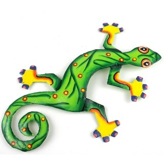 Hand Painted Eight Inch Metal 'Leaf Green' Gecko (Haiti)