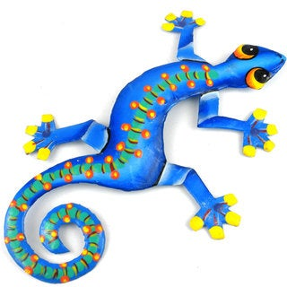 Hand Painted Eight Inch Metal 'Spotted Spine' Gecko (Haiti)
