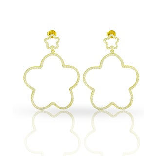 14k Yellow Goldplated Sterling Silver Cubic Zirconia Double Flower Star Iced Micro Pave Drop Earrings
