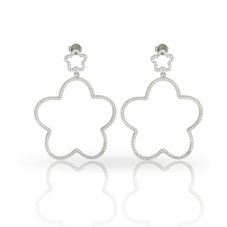 Rhodium-plated Sterling Silver Cubic Zirconia Double Flower Star Iced Drop Earrings