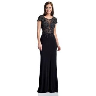 Terani Couture Women's Sheer Long Jersey Evening Dress