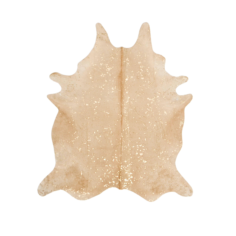 Handmade Devore Metallic Beige with Gold Cowhide Rug (Bra...