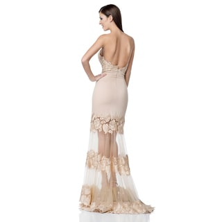 Terani Couture Strapless Gown with Sheer Skirt
