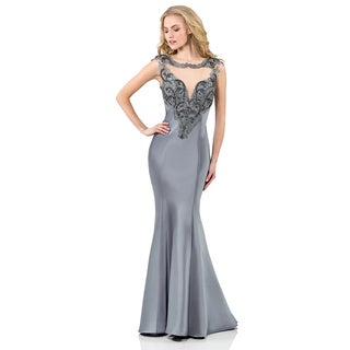 Terani Couture Long Trumpet Dress with Beaded Bustier