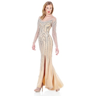 Terani Couture Linear Beaded Pageant Gown