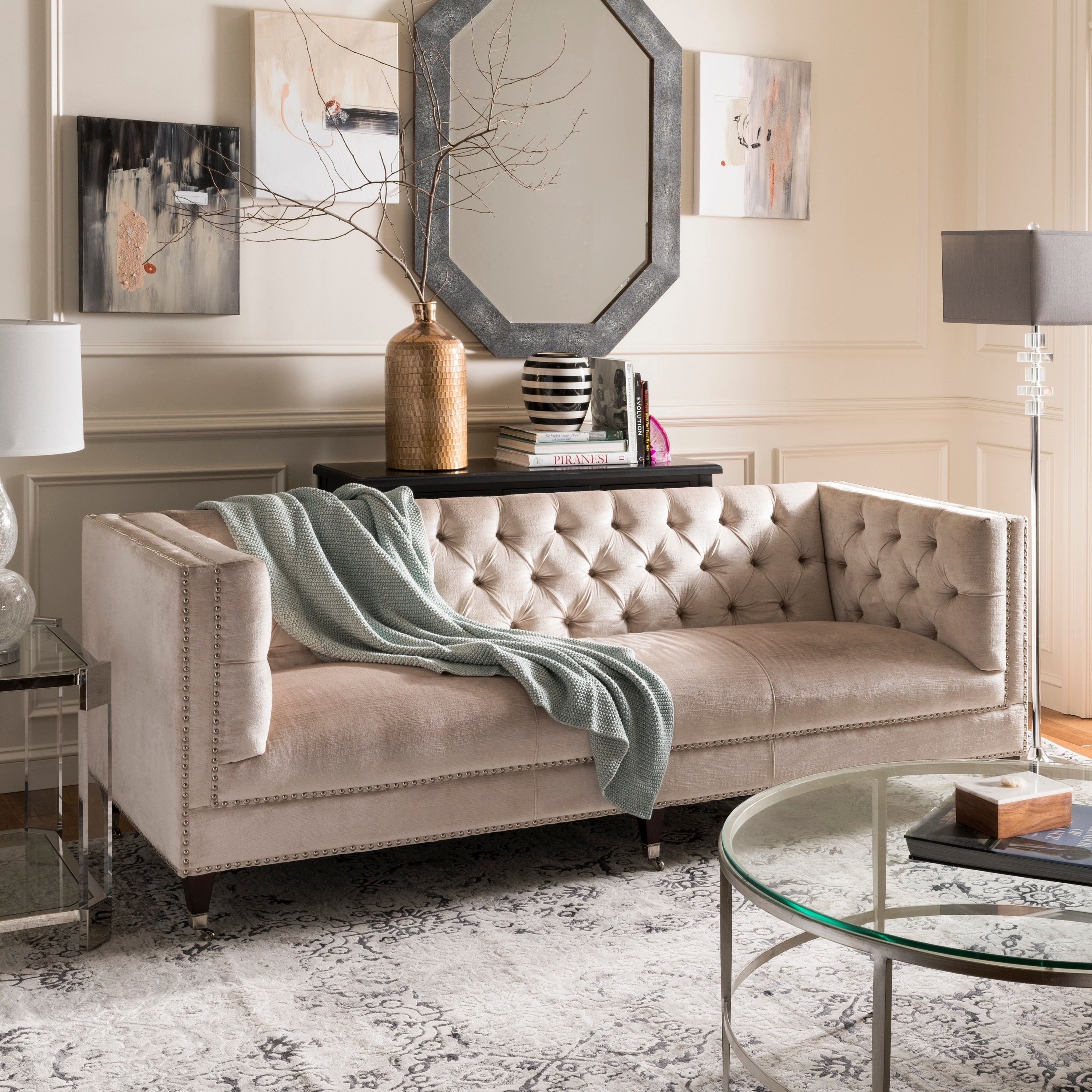 Picture of: Safavieh Couture Miller Pearl Velvet Tufted Commercial Grade Sofa Overstock 11153408
