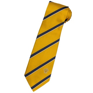 Versace 100-percent Italian Silk Goldenrod/ Navy Stripe Neck Tie