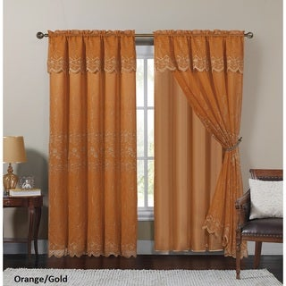 VCNY Paige Embroidered Curtain Panel with Attached Valance and Satin Backing