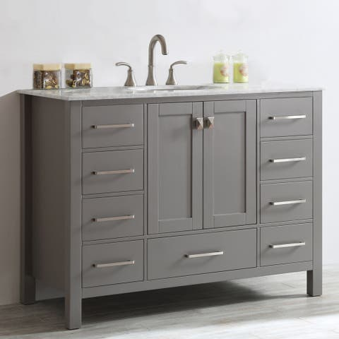 Vinnova Gela 48-inch Single Vanity in Grey with Carrera White Marble Top without Mirror