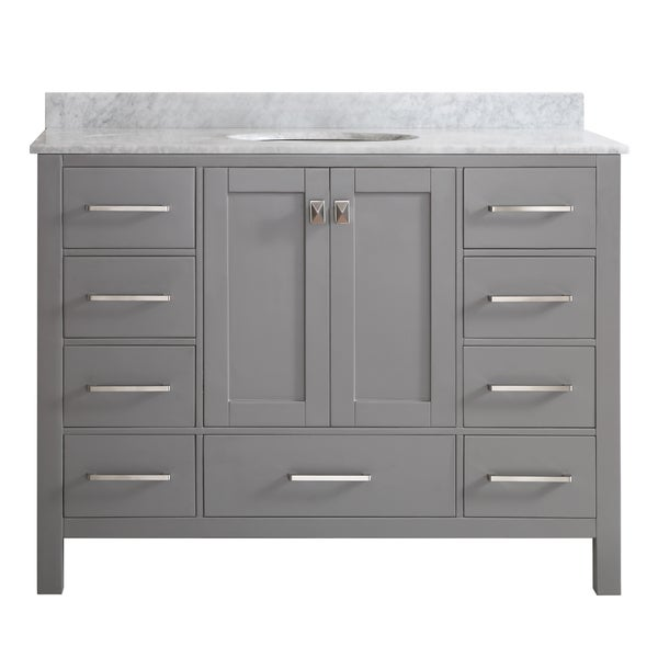 Vinnova gela 48 inch single vanity in grey with carrera for 48 inch mirrored bathroom vanity