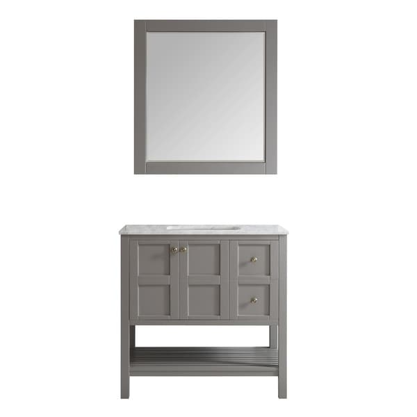 """Florence 36"""" Single Vanity in Grey with Carrera White Marble Top with Mirror"""