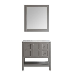 "Florence 36"" Single Vanity in Grey with Carrera White Marble Top with Mirror"