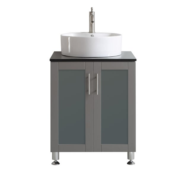 Vinnova Tuscany 24 Inch Single Vanity In Grey With White Vessel Sink Gl Countertop