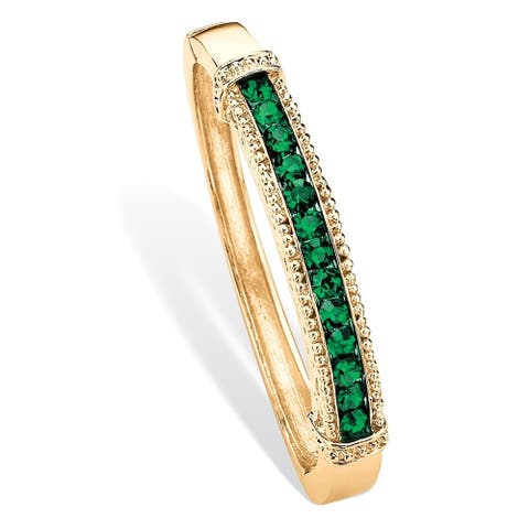 "Round Pave Simulated Emerald Green Crystal Bangle Bracelet in Gold Tone 8"" Color Fun"