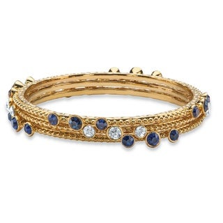 "PalmBeach Simulated Blue Sapphire and White Crystal Three-Piece Hammered Bangle Bracelet Set in Gold Tone 9"" Color Fun"