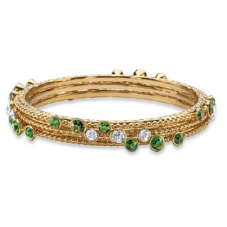 "PalmBeach Simulated Emerald Green and White Crystal Three-Piece Hammered Gold Tone Bangle Bracelet Set 9"" Color Fun"