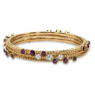Simulated Purple Amethyst and White Crystal Three-Piece Hammered-Style Gold Tone Bangle Br|https://ak1.ostkcdn.com/images/products/11153436/P18150402.jpg?impolicy=medium