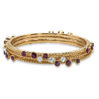 Simulated Purple Amethyst and White Crystal Three-Piece Hammered-Style Gold Tone Bangle Br