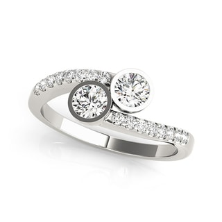 Auriya 14k White Gold 3/4ct TDW Round-Cut Diamond 2-Stone Ring (H-I, SI1-SI2)