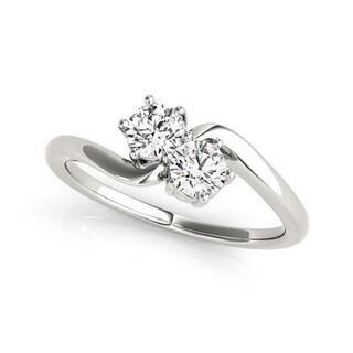 Auriya 14k White Gold 1/4ct TDW Round-Cut Diamond 2-Stone Ring
