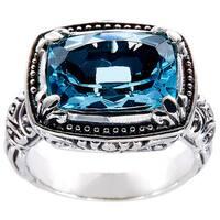 Handmade Sterling Silver BlueTopaz Bali Ring (Indonesia)
