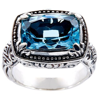 Handmade Sterling Silver BlueTopaz Bali Ring (Indonesia)