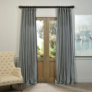 EFF Storm Grey Vintage Faux Textured Dupioni Silk Curtain Panel (As Is Item)