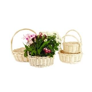 Willow Baskets - Set of 4, Whitewash