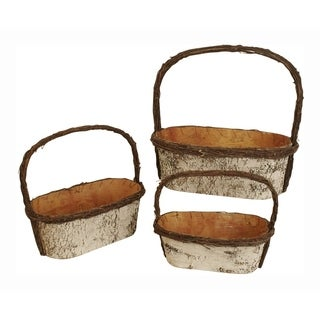 Birch Basket With Handles - Set of 3