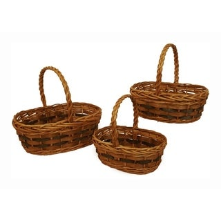 Tuscana Wood Chip Handled Basket - Set of 3