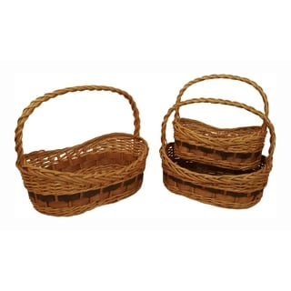 Tuscana Wood Chip Handled Basket - Set of 3