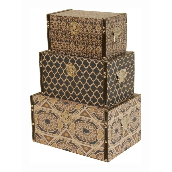 Wald imports navy blue and yellow canvas printing - Decorative trunks and boxes ...