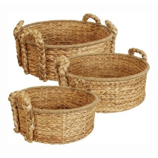 Round Home Décor Baskets - Set Of 3, Natural