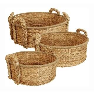 Round Home Décor Baskets - Set Of 3, Natural