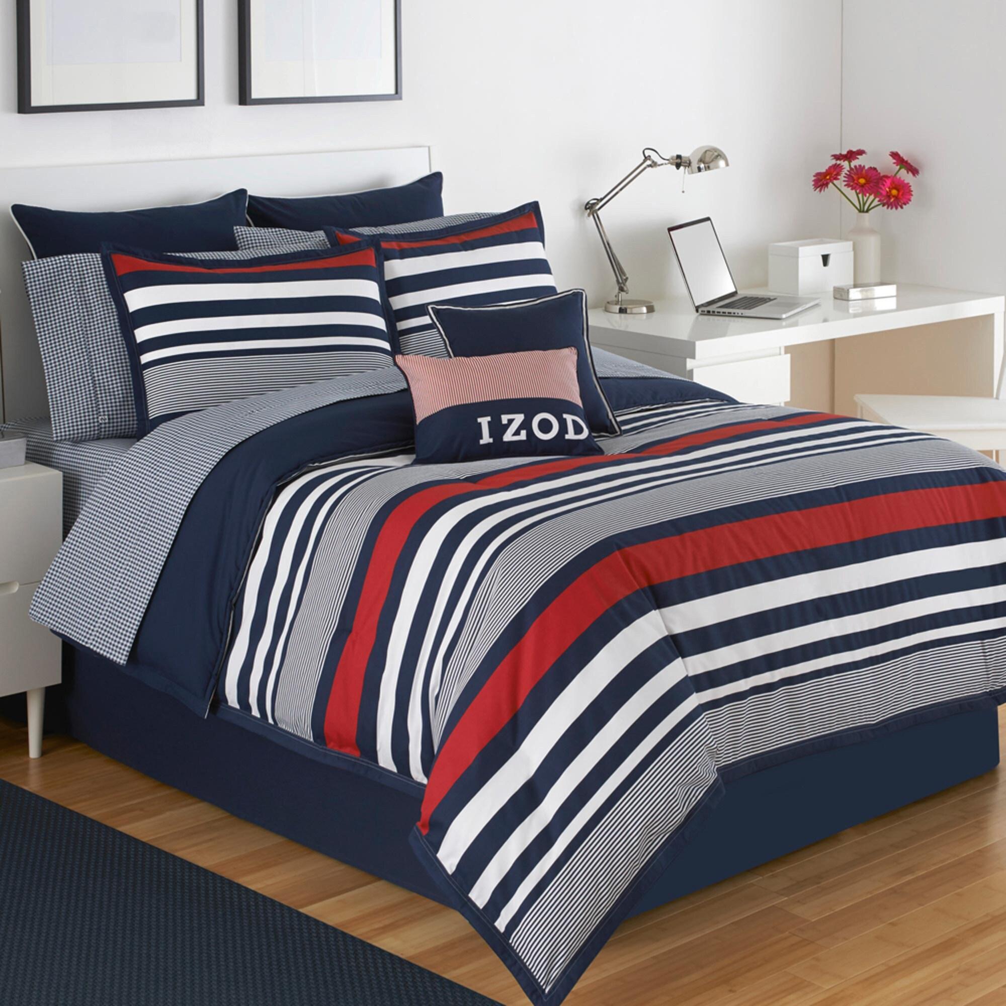 IZOD Varsity Stripe 4 Piece Comforter Set In Red, White, And Blue Stripes
